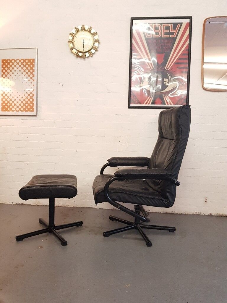 Danish Vintage Leather Office Chair Stool By Kebe