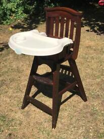 Solid wooden child's high chair