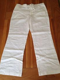 "Next Men's White Linen Trousers (36""R) (never worn)"