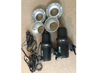 2Pcs DE300 2x300W Studio Strobe Flash Light Trigger Softbox Kits 220V
