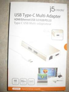 j5Create USB Type C Thunderbolt to HDMI / Ethernet / USB / Power Charger Multi Adapter. For Macbook Pro Air / Samsung