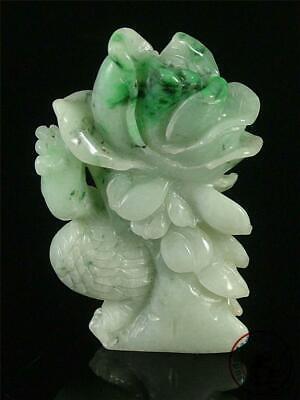 Grade A Type A Yellow Green Burma Jade Carved Bird Jewellery Jadeite Jade Bird Plum Blossom Pendant Necklace Genuine Jade