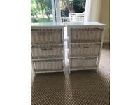 White wood and wicker set of drawers