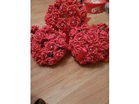 3 foam red bridesmaid bouquets
