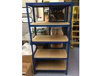 Large BLUE & TAN heavy duty steel framed 5 tier shelving units