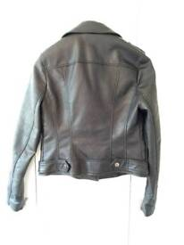 NEW River Island Size 10 Leather Jacket with Cherry Blossom detail