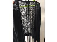 Black cardigan size 14 with lace detail