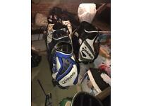 Assorted golf tour bags used