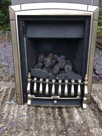 Brass gas fire