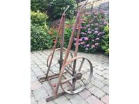 ANTIQUE HEAVY DUTY BARREL OR SACK TROLLEY WITH CAST IRON WHEELS