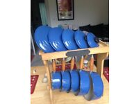 Genuine Vintage Le Creuset Cast-Iron Pan set with wooden stand