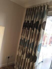 Natural and Teal Coloured Curtains 210 drop width + 1/2