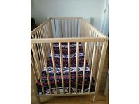 Cot bed with mattress + bedding