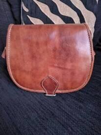 Moroccan handcrafted leather Saddle Bag, cross bidy messenger bag, small