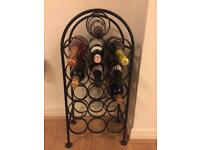 Black iron wine rack
