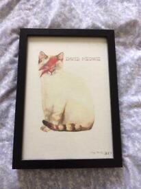 Cute cat watercolour - David Bowie artwork