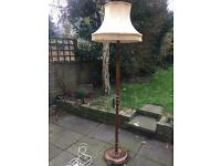 Mid-century / vintage, solid wooden standard lamp with shade