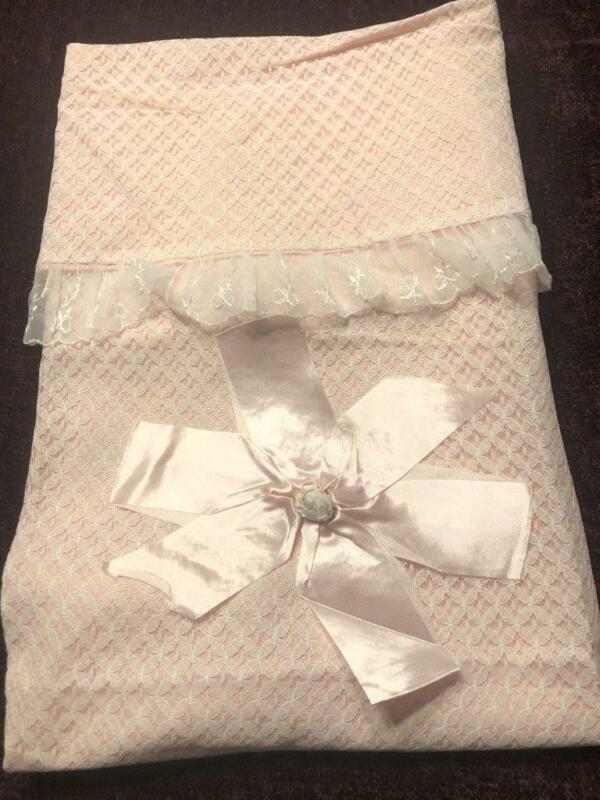 "Vintage NWOT Pink Nylon Lace Trimmed Baby Blanket Lg Pink Satin Bow 24""x27"""