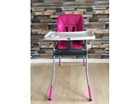 Recliner high chair .. pink