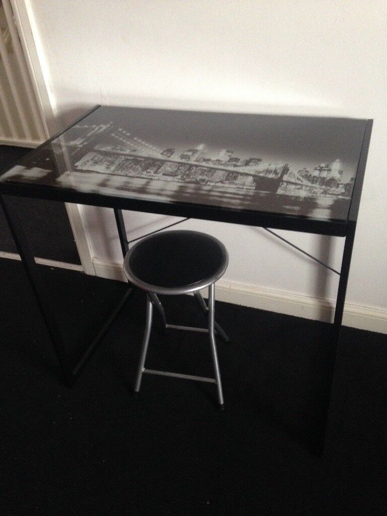 Glass desk and stool