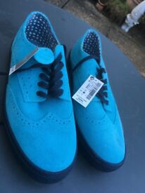 BRAND NEW Suede Brogues in Bright Blue size UK 6 - Never Worn (Tags still on)