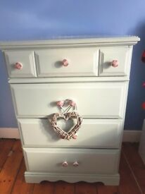 Beautiful shabby chic vintage chest of drawers