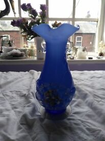 Antique, blue 'End of Day' glass vase, bought from an antique shop.