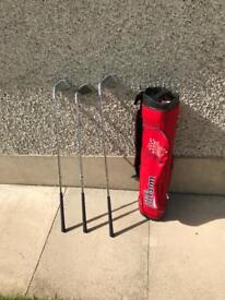 Junior right handed golf clubs and bag.