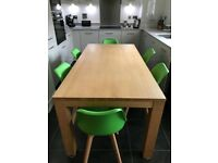 6ft Oak Dining Table and 6 Dining Chairs