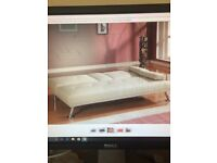 CREAM FAUX LEATHER CLICK CLACK SOFA BED WITH DROP DOWN DRINKS HOLDER - NEVER ASSEMBLED