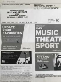 Beyoncé jay zee tickets for tonight's show