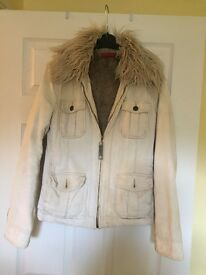 Beige Cord River Island Coat with fur collar and fur lining Size 10