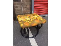 70S 80S ROCKING FOOTSTOOL WITH VINTAGE UPHOLSTERY