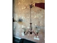 Triple sconce chandelier in burgundy red £10