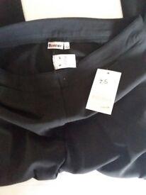 Girls black school trousers, 32/34 new