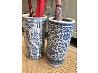 Oriental style umbrella/ stick pots x2