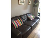 Solid Ikea leather sofa in chocolate brown VGC
