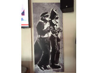 Banksy Batman and Police Stretched Canvas Singed