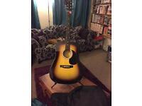 Fender Squier SA-105 Acoustic Guitar Pack - Soft Case, Plec, Stand, NBT100 Tuner