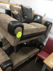 New!! Brown Jumbo Cord Sofa Set