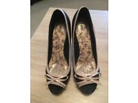 Black and pink Next peep toe shoes size 6