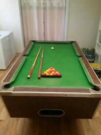 Slate Pool Table with balls, cues and triangle