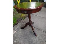 wooden round table with small drawer, side table, coffee table