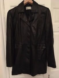 Leather Coat worn before but in great condition size Medium 12-14