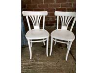 Two Painted White Pine Dining chairs
