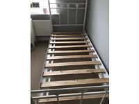 Single bed frame, white, with heart detail, originally From NEXT.