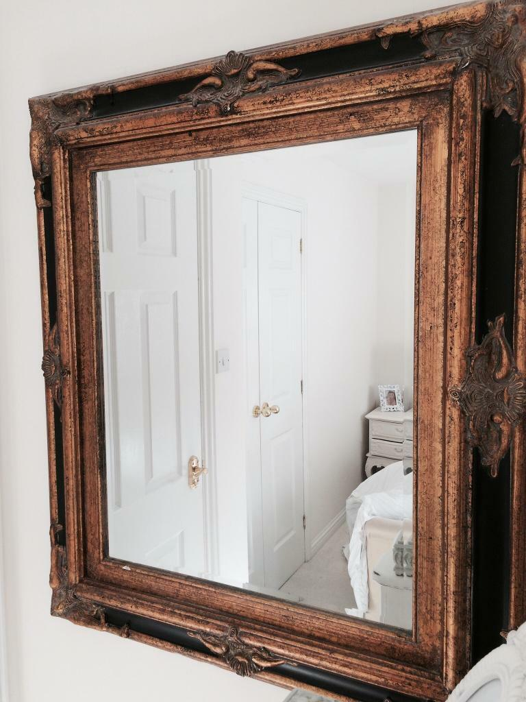 Vintage mirror black gold distressed Shabby Chic