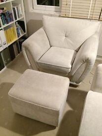 Arm chair and matching foot stool. Collection Only.