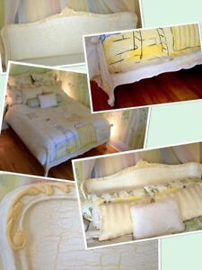 Vintage(1940-50)wood bed(double)painted/antiqued by a designer