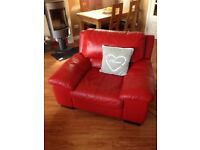 Red Leather DFS 4 seat sofa and armchair